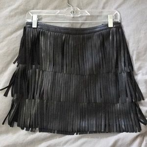 Fringe black shirt skirt